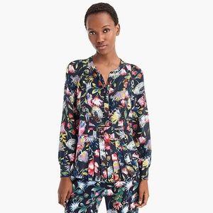 J Crew Floral Pleated Silk Blouse XXS